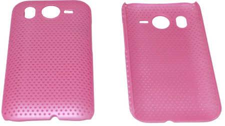 Schutzhülle hart, pink perforiert passend zu HTC Desire HD (3ppp3.ch)