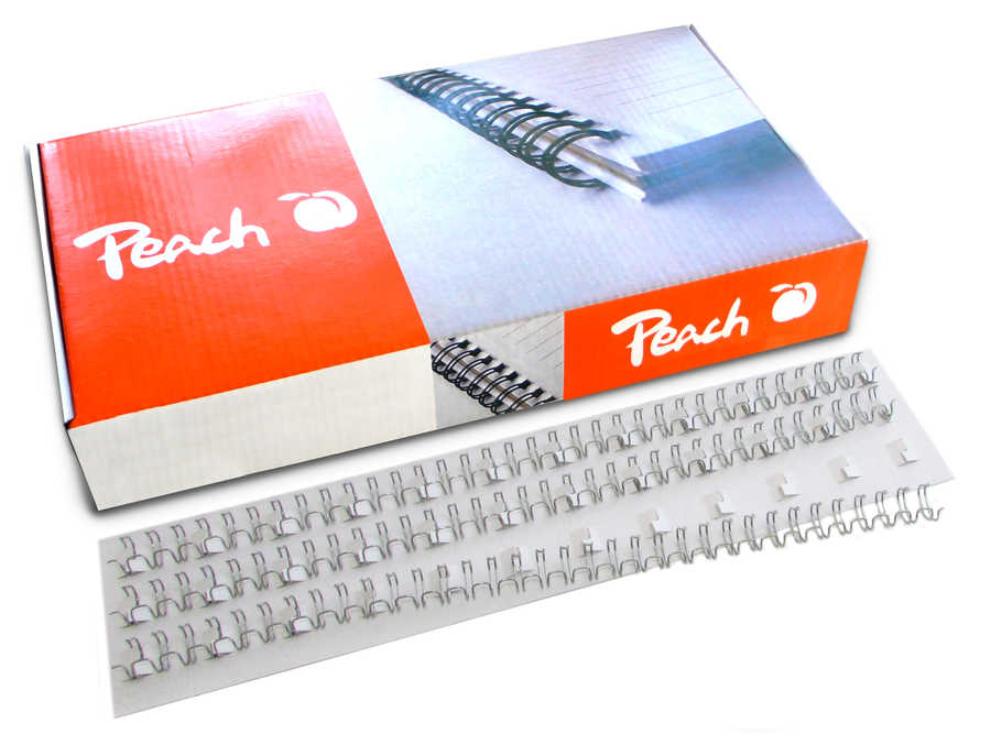 Bild Peach Drahtbinderücken 6mm weiss, 3:1'', 34 Ringe A4, 100 Stk. PW064-02