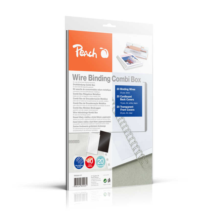 Bild Peach Wire Binding Combi Box - 6mm - PW064-07- 45 Blatt