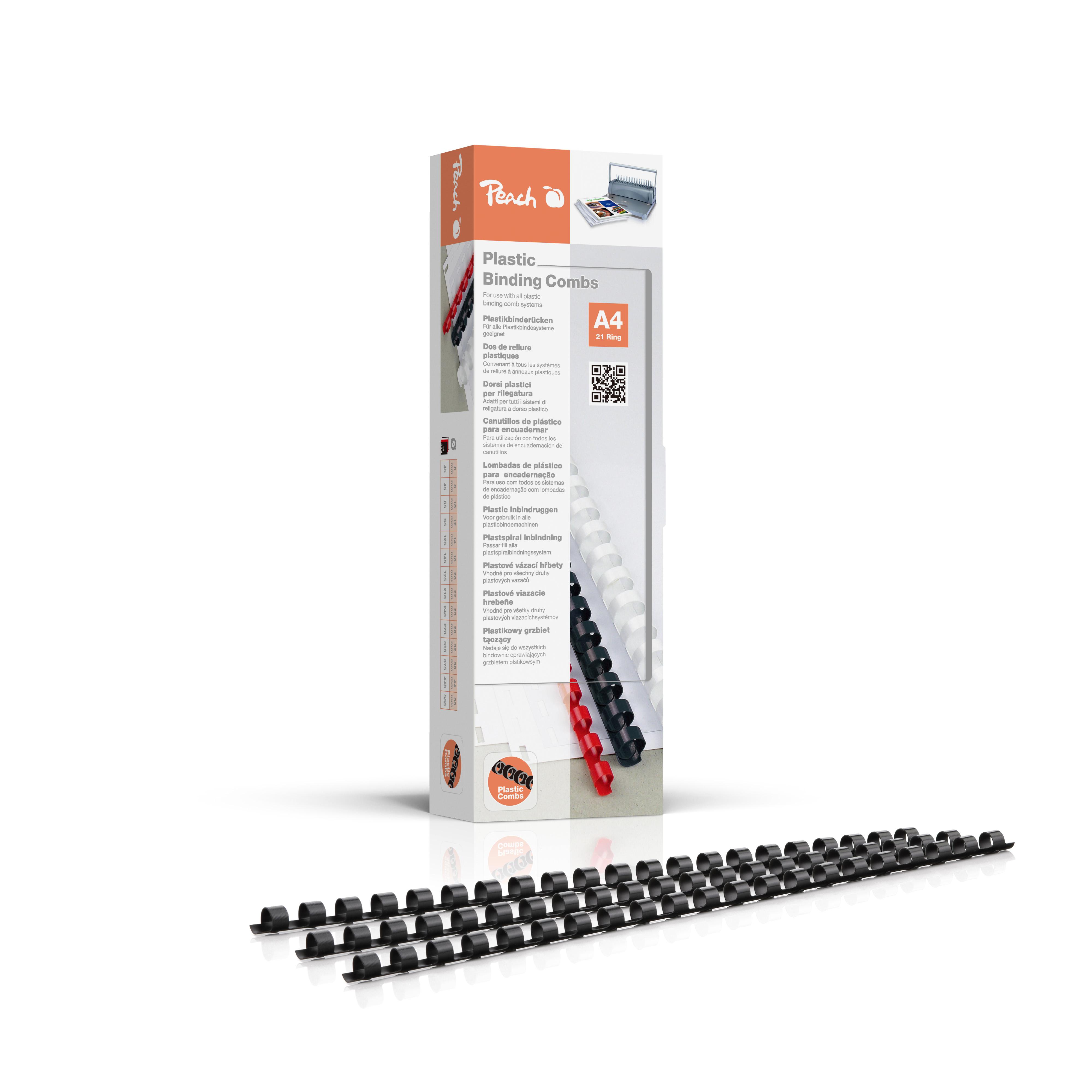 PB408-02 Peach Binderücken 8mm für 45 Blatt A4 schwarz 100 Stück
